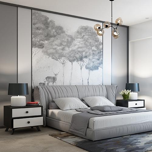现代床头背景